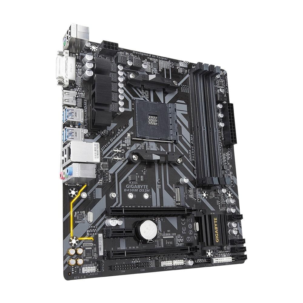 Создана материнская плата GIGABYTE B450M DS3H на AMD B450 сокете, что позволило интегрировать в нее процессорный разъем AM4, поддерживающий в это комбинации AMD Ryzen 2-го поколения, Ryzen с Radeon Vega Graphics, Athlon с Radeon Vega Graphics, Ryzen 1-го поколения. На плату помещено 4 разъема DDR4 DIMM с поддержкой до 64 ГБ оперативной памяти с двухканальной архитектурой и частотой работы от 2133 до 3200 (OC) МГц. Также реализована поддержка интегрированного графического ядра. Внизу материнской платы GIGABYTE B450M DS3H базируются 1 разъем PCI Expressx16, 1 порт PCI Express x16, режим работы x4, 1 x слот PCI Express x1. Для подсоединения внутренних накопителей доступны интерфейсы 1 х M.2 (разъем Socket 3, ключ M, тип 2242/2260/2280/22110 SATA и поддержка PCIe 3.0 x4 / x2 SSD) - поддерживает только твердотельные накопители M.2 SATA при использовании AMD Athlon ™ серии 200/7-го поколения или APU Athlon и 4 разъема SATA 6 Гбит/с. Масштабировать видеоподсистему можно благодаря поддерживаемым технологиям AMD Quad-GPU CrossFire и 2-Way AMD CrossFire. На панели интерфейсов материнской платы GIGABYTE B450M DS3H сосредоточены 4 x USB 2.0 / 1.1 порта, 3 х аудио разъема, 1 порт PS / 2 для подключения клавиатуры и мыши, 1 порт DVI-D, 1 порт HDMI, 4 порта USB 3.1 Gen 1 и GbE LAN (10/100/1000 Мбит)