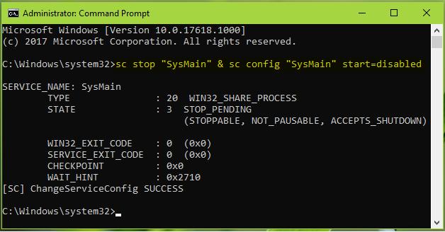 Служба узла sysmain грузит диск windows 10